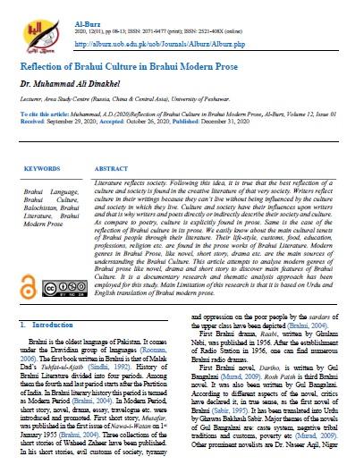 Reflection of Brahui Culture in Brahui Modern Prose